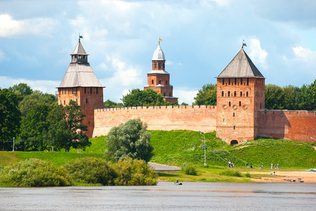 volkhov: Russia. Walls, towers of the Veliky Novgorod Kremlin and Volkhov River Editorial