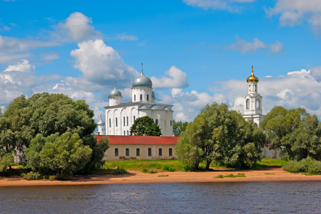volkhov: Veliky Novgorod. Russia. The St. Georges (Yuriev) Monastery on the bank of The Volkhov River. Orthodox Yuriev male monastery is one of the oldest monastery in Russia.