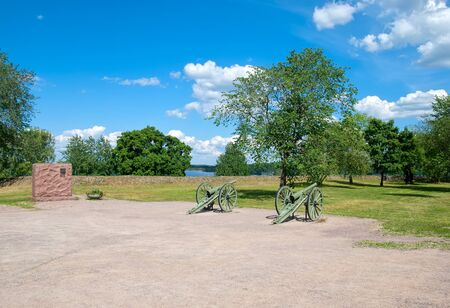 french model: LAPPEENRANTA, FINLAND - JUNE 15, 2016: The Fortress of Lappeenranta. French 90 K  77 cannons (The De Bange 90 mm cannon (Mle 1877). First World War model that France gave Finland during the Winter War Editorial