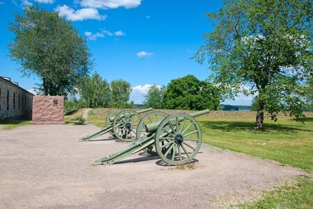 suomi: LAPPEENRANTA, FINLAND - JUNE 15, 2016: The Fortress of Lappeenranta. French 90 K  77 cannons (The De Bange 90 mm cannon (Mle 1877). First World War model that France gave Finland during the Winter War Editorial