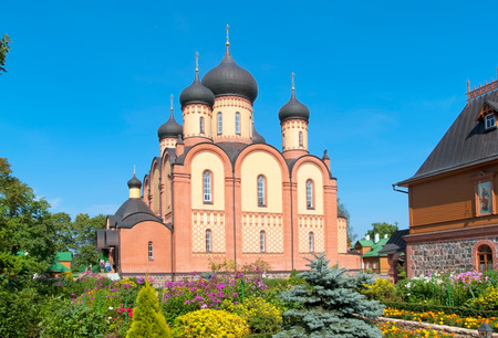 KUREMAE, IDA-VIRUMAA COUNTY, ESTONIA - AUGUST 21, 2016: Dormition Cathedral. Puhtitsa Dormition Convent of Russian Orthodox Church (The Estonian Orthodox Church of Moscow Patriarchate) Editorial