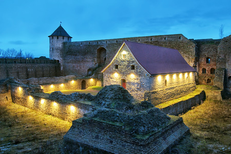 gunpowder: IVANGOROD, RUSSIA - JANUARY 1, 2017: Museum in Ivangorod Fortress. It is a former small gunpowder barn of 17th century. The fortress was built in 1492 and named after Grand Prince of Russia Ivan III