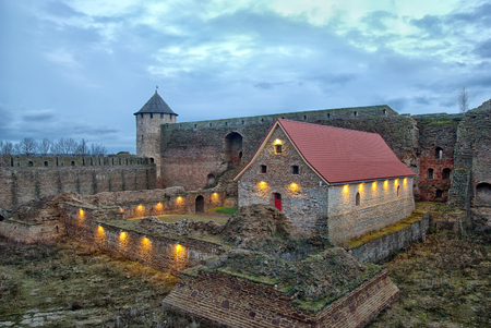 IVANGOROD, RUSSIA - JANUARY 1, 2017: Museum in Ivangorod Fortress. It is a former small gunpowder barn of 17th century. The fortress was built in 1492 and named after Grand Prince of Russia Ivan III