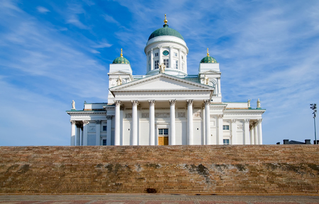 Helsinki. Finland. Senate Square. Helsinki Cathedral also known as a St Nicholas Church Stok Fotoğraf