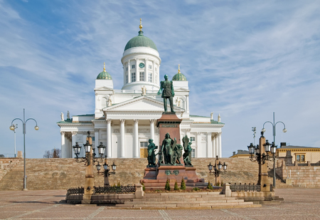 Helsinki. Finland. Senate Square. Helsinki Cathedral also known as a St Nicholas Church and Alexander II Sculpture in the foreground Stok Fotoğraf