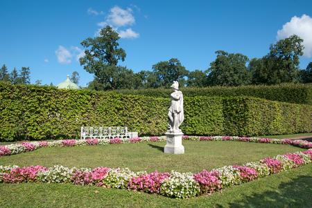 TSARSKOYE SELO, SAINT-PETERSBURG, RUSSIA - AUGUST 22, 2018: Catherine Park with Sculpture Allegory of Wisdom trampling on Vice. The Tsarskoye Selo is State Museum-Preserve. Located near Saint-Petersburg