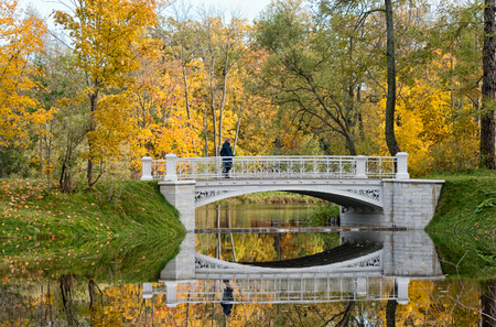 Woman on Third Lamsky Bridge in Alexander park. Pushkin. Tsarskoye Selo. Russia