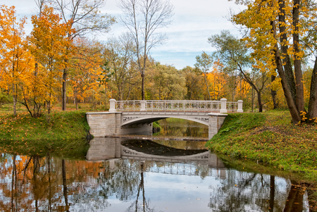 Third Lamsky Bridge in Alexander Park. Pushkin. Tsarskoye Selo. Russia Redactioneel