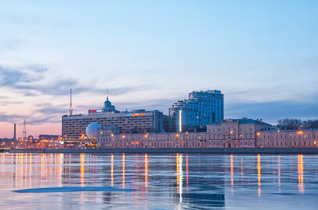 Saint-Petersburg Hotel and Neva River. Russia