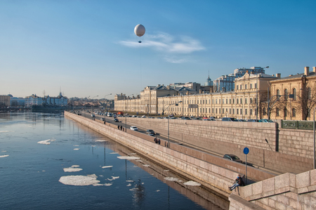 The Neva River and helium tethered balloon for excursion. St Petersburg. Russia