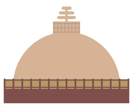 Buddhist stupa on a white background. Religious architecture
