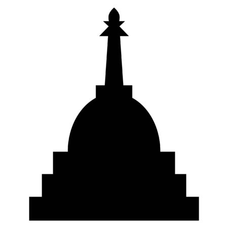 Tibetan stupa on a white background. Religious architecture