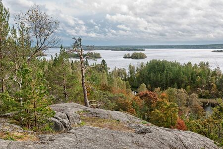 Rullalahdenvuori Rock on Kilpola Island and view of Ladoga Lake in Karelia. Russia