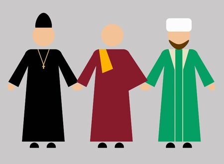 Christian, Buddhist, Muslim clergy hold hands. Friendship of Three World Religions