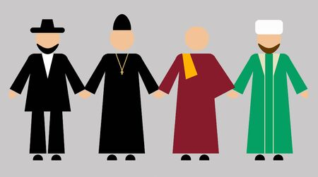Jewish, Christian, Buddhist, Muslim clergy hold hands. Friendship of four traditional religions of Russia
