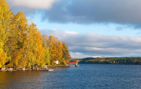 Shore of The Saimaa Lake in autumn in Puumala Municipality. Southern Savonia (Savo) Region. Finland