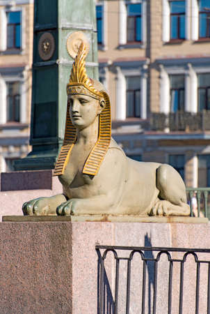 Saint-Petersburg, Russia – June 13, 2020: The sculpture of sphinx on The Egyptian Bridge over The Fontanka River. The bridge is a monument of history and culture