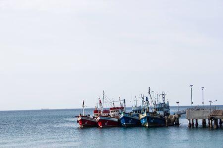 Four boats in sea at Koh Lan, Pattaya, Thailand