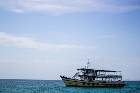 pattaya thailand: Boat in the sea at Koh Lan, Pattaya, Thailand