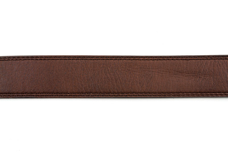 straw mat: Brown leather belt on white background