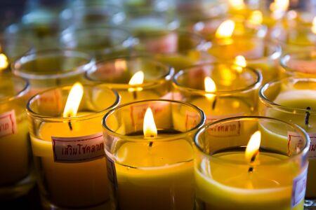nonthaburi: Candlelight in small glass at Leng Noei Yi 2 temple  Prabaromrachapisek Temple , Nonthaburi, Thailand Stock Photo
