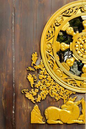 Beautiful Door of Leng Noei Yi 2 temple Prabaromrachapisek Temple , Nonthaburi, Thailand