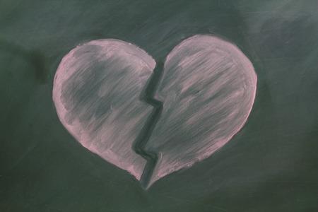 Broken red heart in chalk on a blackboard photo
