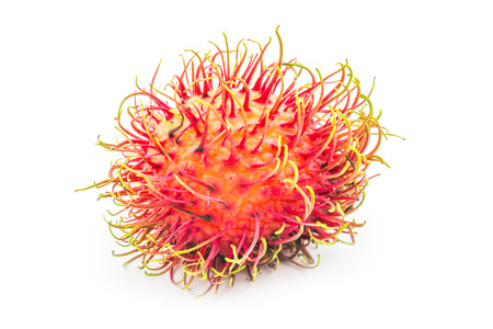 rambutan: Rambutan tropical fruit on white  Stock Photo