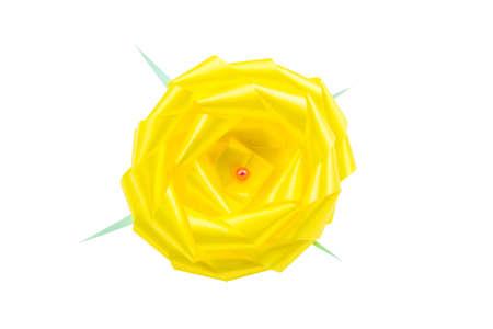 ribbin: Yellow Gift Bow On White