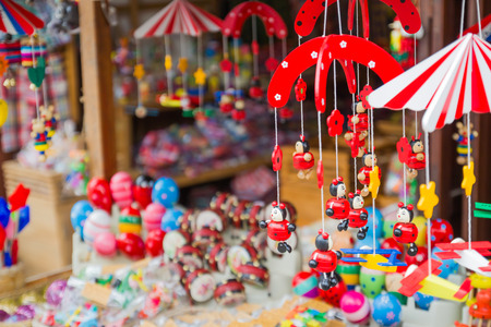 xmas crafts: Old toy shop at Chiang Khan, Thailand Stock Photo