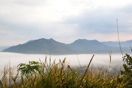 Mist over the mountains at Chiang Khan, Thailand photo