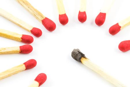 Red match stick around burnt match stick isolated on white  photo