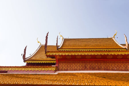 buddhist temple roof: Roof tiles of temple at Wat Phra That Doi Suthep, Chiangmai, Thailand