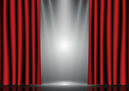 curtain to theater stage: Red curtains on lighting stage Illustration