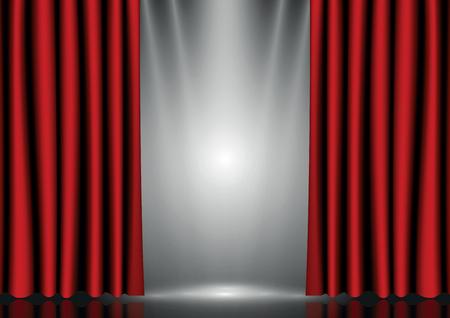 stage lights: Red curtains on lighting stage Illustration
