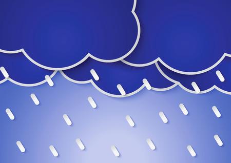 rains: Paper rain clouds and rains, VECTOR, EPS10