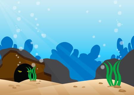 sea creature: Under the sea scene with detail bottom of the sea Illustration