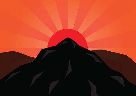 Silhouette mountain and red sun, VECTOR, EPS10 Vector