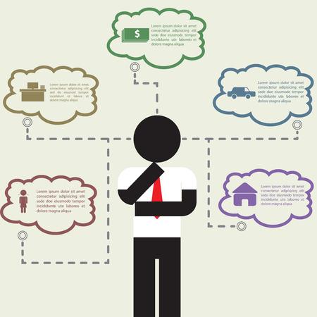 dream car: Infografía de negocios que piensa en su vida, VECTOR, EPS10 Vectores