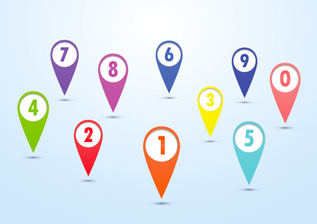 mapping: Set of colorful mapping pins, VECTOR, EPS10