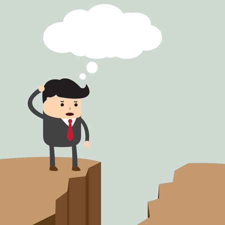 Businessman standing on the cliff and looking for way to across to the opposite side, VECTOR, EPS10 Vector