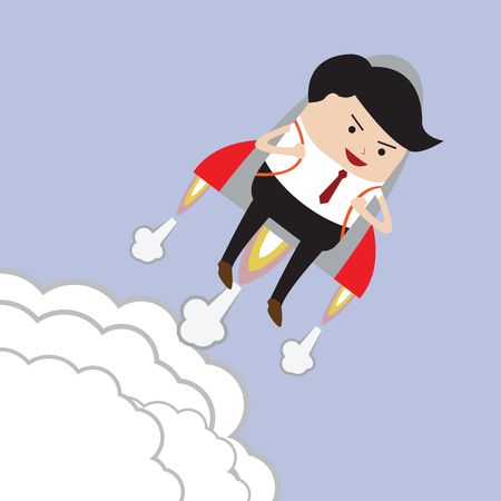 rocket man: Businessman flying with rocket, Successful, Career growth concept, VECTOR, EPS10