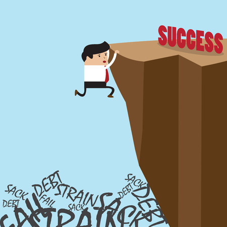 dangerous work: Businessman in climbing the cliff to success choice or failure, VECTOR, EPS10