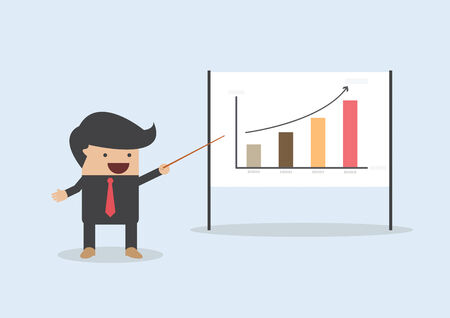 happy people white background: Businessman presenting and pointing the graph on board, VECTOR, EPS10