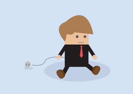 unplug: Business unplug and stop working, VECTOR, EPS10 Illustration