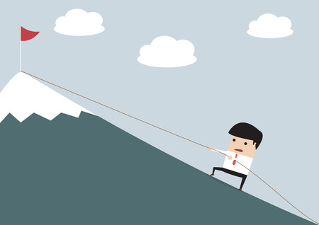 Businessman Climbing Hill, VECTOR, EPS10
