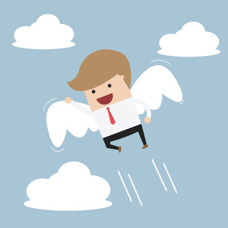 angel white: Businessman flying with wings, VECTOR, EPS10