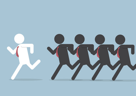 follow the leader: Businessman following leader, VECTOR, EPS10 Illustration
