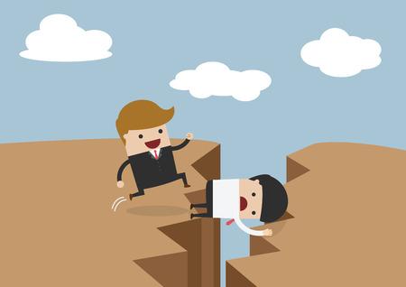 sacrificio: El hombre de negocios utiliza a sí mismo como puente, sacrificarse por los demás a través del acantilado Vectores