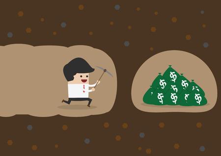 digging: Businessman digging to find money, VECTOR, EPS10 Illustration